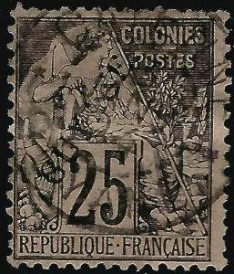 France Guiana #25 Used Fine  hr Short perfs ...Chance to bid on a real Bargain!