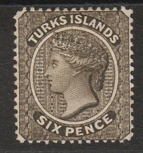 TURKS ISLANDS 1881 QV 6D OLIVE BLACK WMK CROWN CC SIDEWAYS