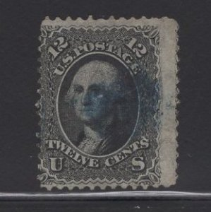 US Stamp Scott #69 USED 12c Franklin Black (+$15 Blue Cancel) SSCV $110