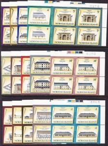 NORFOLK IS 1973 Historic Building definitive set MNH blocks of 4...........68753