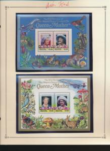 Union Island (St Vincent Grenadines) Stamps 211-2, Queen Mother Souvenir Shee...