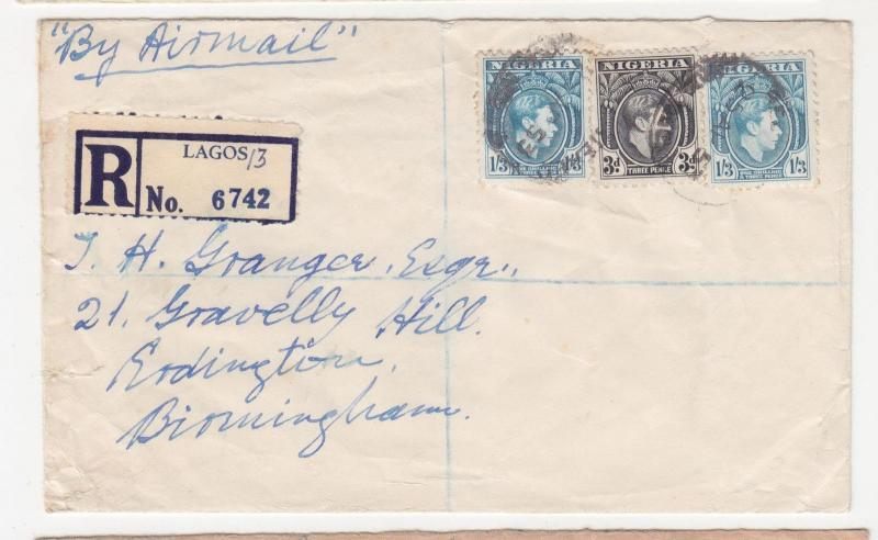 NIGERIA, 1952 Airmail cover, KGVI 3d., 1s.3. (2), 1d. on reverse, Lagos to GB.