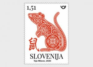 Stamps of Slovenia. 2020. - Chinese Horoscope 2020 - Year of the Rat. Stamp.