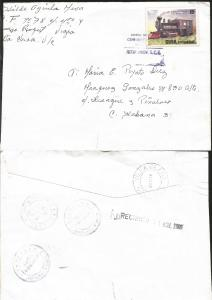 J) 2005 CUBA-CARIBE, RAILWAY, LOCOMOTIVES, AIRMAIL, CIRCULATED COVER