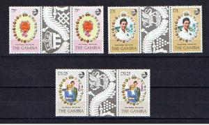GAMBIA 1981 ROYAL WEDDING GUTTER PAIRS