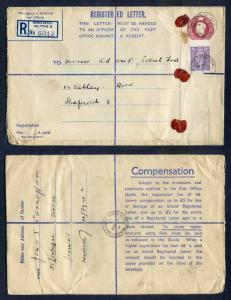 RP68 KGVI 6 1/2d Puce Registered Envelope Size H And Up To 2 on Back Uprated