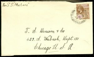EDW1949SELL : BRITISH GUIANA Nice single usage on 1928 Ship cover to USA.