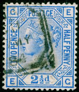 SG157, 2½d blue PLATE 22, USED, CDS. Cat £40. FG