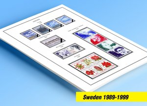 COLOR PRINTED SWEDEN 1989-1999 STAMP ALBUM PAGES (53 illustrated pages)