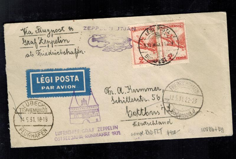 1931 Budapest Hungary Graf Zeppelin Cover LZ 127 to Cottbus Germany Round Trip