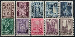 Austria #B189-98*  CV $10.35