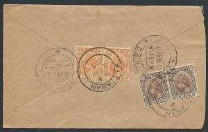 MALAYA PERAK 1937 cover SITIAWAN to Calcutta...............................46820