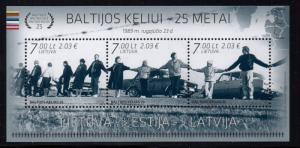 Lithuania Sc 1031 2014 Baltic Chain Anniversary stamp sheet mint NH