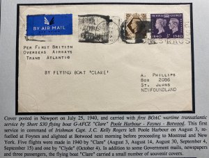 1942 England Airmail First Wartime Trans Atlantic Flight Cover to Newfoundland