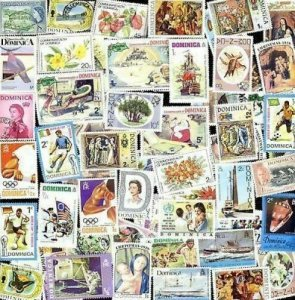 100 All Different DOMINICA Stamps