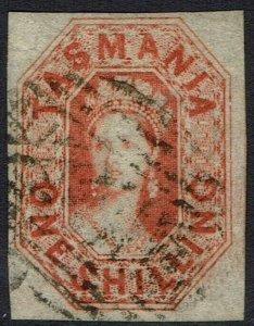 TASMANIA 1858 QV CHALON 1/- IMPERF USED