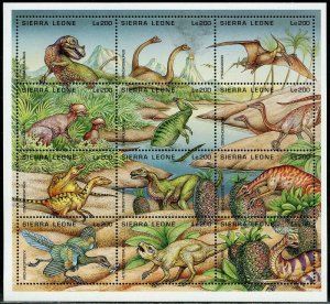 Sierra Leone MNH S/S Dinosaurs 12 Stamps
