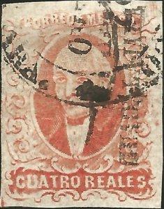J) 1856 MEXICO, HIDALGO, GUADALAJARA DISTRICT, 4 REALES RED, CIRCULAR CANCELLATI