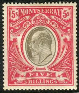 MONTSERRAT-1907 5/- Black & Red.  A mounted mint example Sg 33