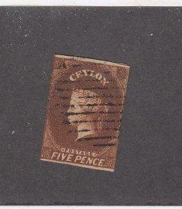 CEYLON (MK6016) # 6 F-USED  5p 1857-59 QUEEN VICTORIA /ORANGE-BROWN CAT VAL $175