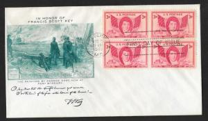UNITED STATES FDC 3¢ Francis Scott Key BLOCK 1948 Fulton