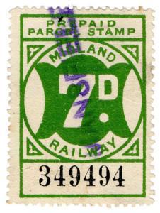 (I.B) Midland Railway : Prepaid Newspaper Parcel 7d (Mansfield)