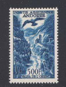 French Andorra Sc C4 MNH. 1957 500fr Valira River & Eagle Air Post, top value