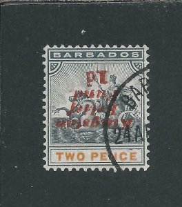 BARBADOS 1907 KINGSTON RELIEF 1d on 2d INVERTED NO STOP AFTER 'd' FU SG 153ea