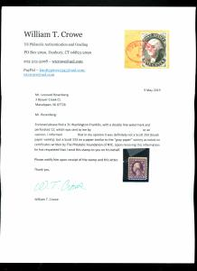 333 MINT Gray Paper Experimental Variety with letter from William Crowe F-V...