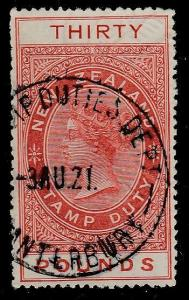 NEW ZEALAND 1880 Stamp Duty £30  fine used.................................59862