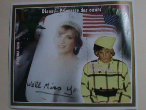 BURKINA FASO STAMP: 1997- PRINCESS DIANA-WE WILL MISS YOU-MINT NH S/S  SHEET