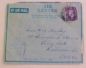 GREAT BRITAIN USED in PALESTINE   FPO 148 AIR LETTER 1945