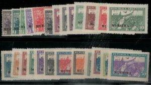 Argentina 1930 SC 374-398 Specimen Ovpt MNH SCV $800 Set