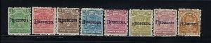 RHODESIA SCOTT #82-87/89/92 1909 OVERPRINTS (SELECTIONS)MINT HINGED