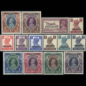 PAKISTAN 1947 - Scott# 6-19 King Opt. 2a-25r LH