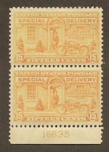 E13 MNH 15c. Special Delivery,  VF/XF,  Plate # Pair