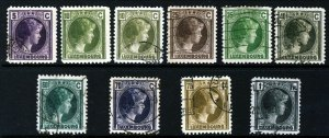 LUXEMBOURG 1926-35 Grand Duchess Charlotte Part Set to 1Fr. SG 245 to SG 254 VFU