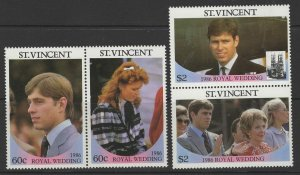 ST.VINCENT SG1009/12 1986 ROYAL WEDDING MNH