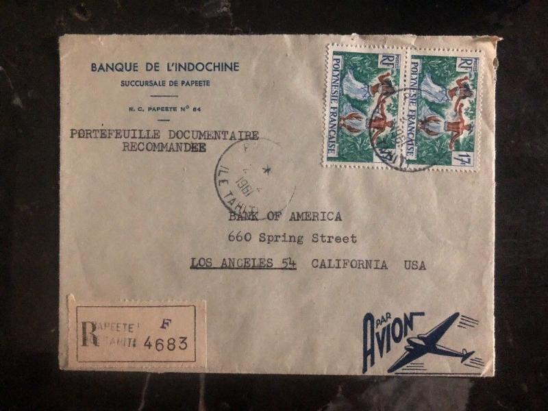 1961 Papeete Tahiti French Polynesia Cover To Bank Of America Los Angeles USA C