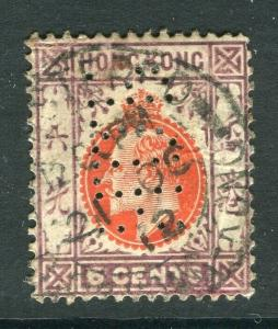 HONG KONG; 1904 early Ed VII Crown CA issue used 6c. + PERFIN