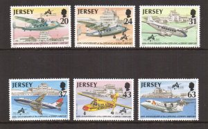 Jersey   #790-795   MNH  1997 airport  boeing  bae  DH114 heron