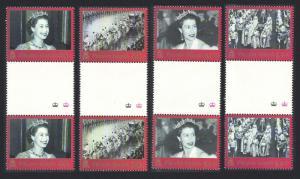 Pitcairn 50th Anniversary of Coronation 4v Gutter Pairs SG#642-645 SC#577-580