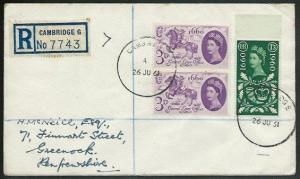 GB 1961 Registered cover CAMBRIDGE skeleton temporary cds................38126