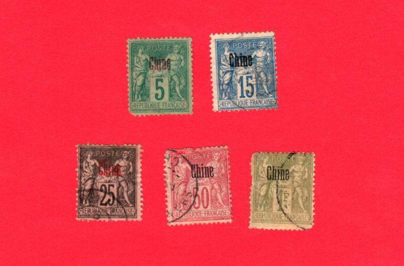 FRANCE OFFICES IN CHINA 5 DIFFERENT USED STAMPS SCOTT # 1, 4, 6, 9 and 11