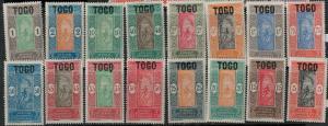 Togo 1921 SC 193-209  Mint/MNH SCV $50.00 Set