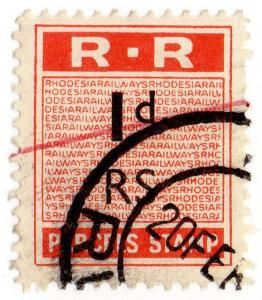 (I.B) Rhodesia Railways : Parcels Stamp 1d (Rusape)
