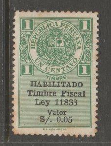 Peru fiscal revenue cinderella stamp 5-31-88 mnh gum