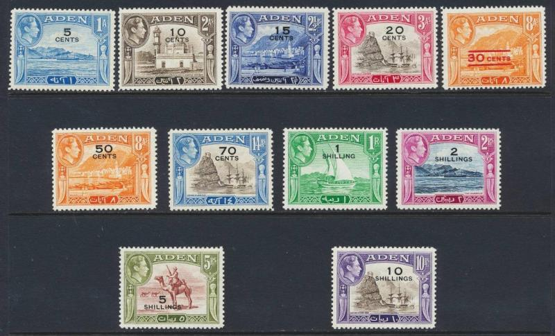 ADEN 1951 SURCHARGE SET, VF LH OG SG#36-46 CAT£85 $120 (SEE BELOW)
