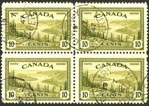 CANADA #269 USED BLOCK OF 4