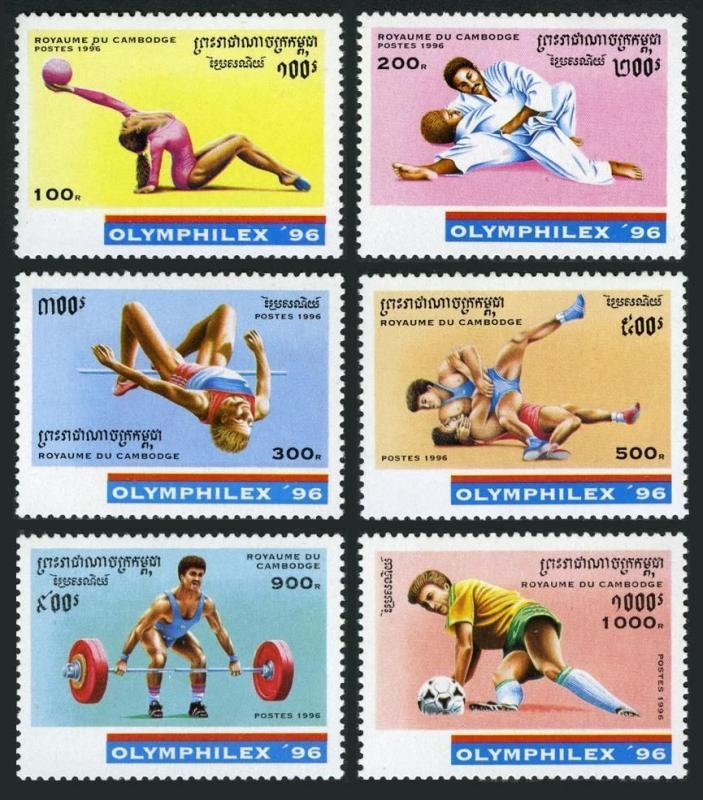 Cambodia 1520-1526,MNH.Michel 1596-1603,Bl.220. OLYMPHILEX-1996.Gymnastics,Judo,